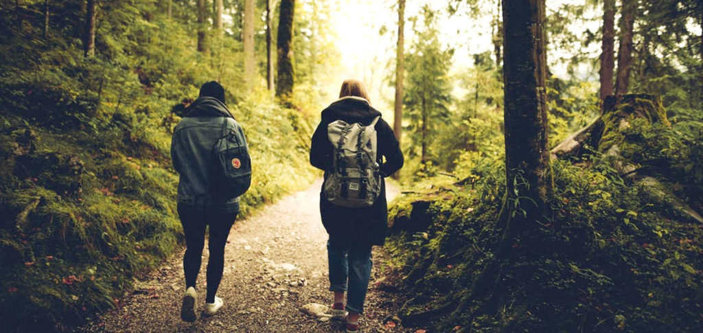two people with backpacks walking in nature