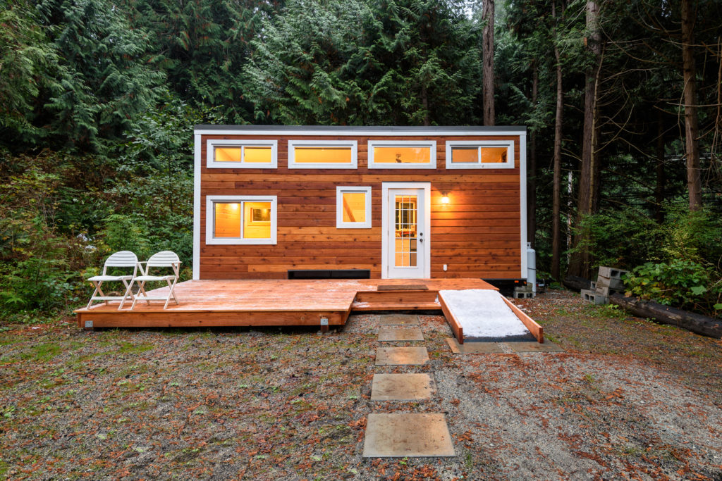 Exterior design of tiny house in the evening
