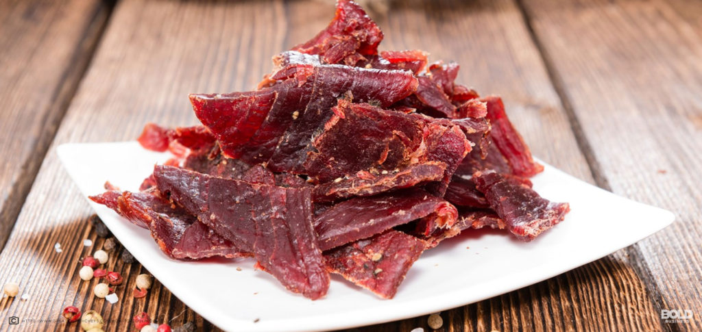 plate of vegan jerky served as snack