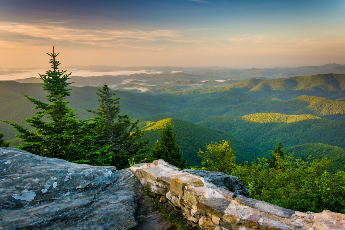 View from Devil's courthouse in Asheville, NC - best places to travel alone in US