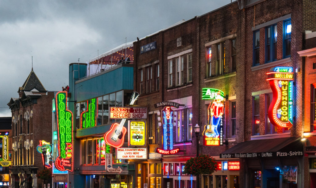 best places to travel alone in the US - strip along broadway in Nashville, TN