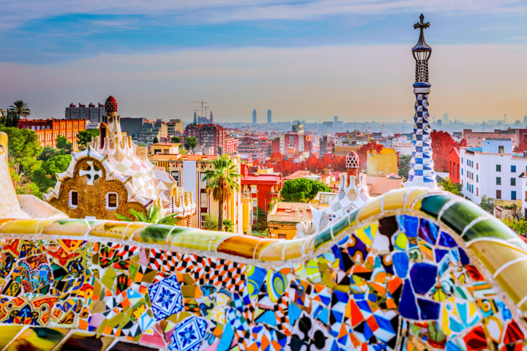 best places to travel alone - Park guell colors in Barcelona, Spain