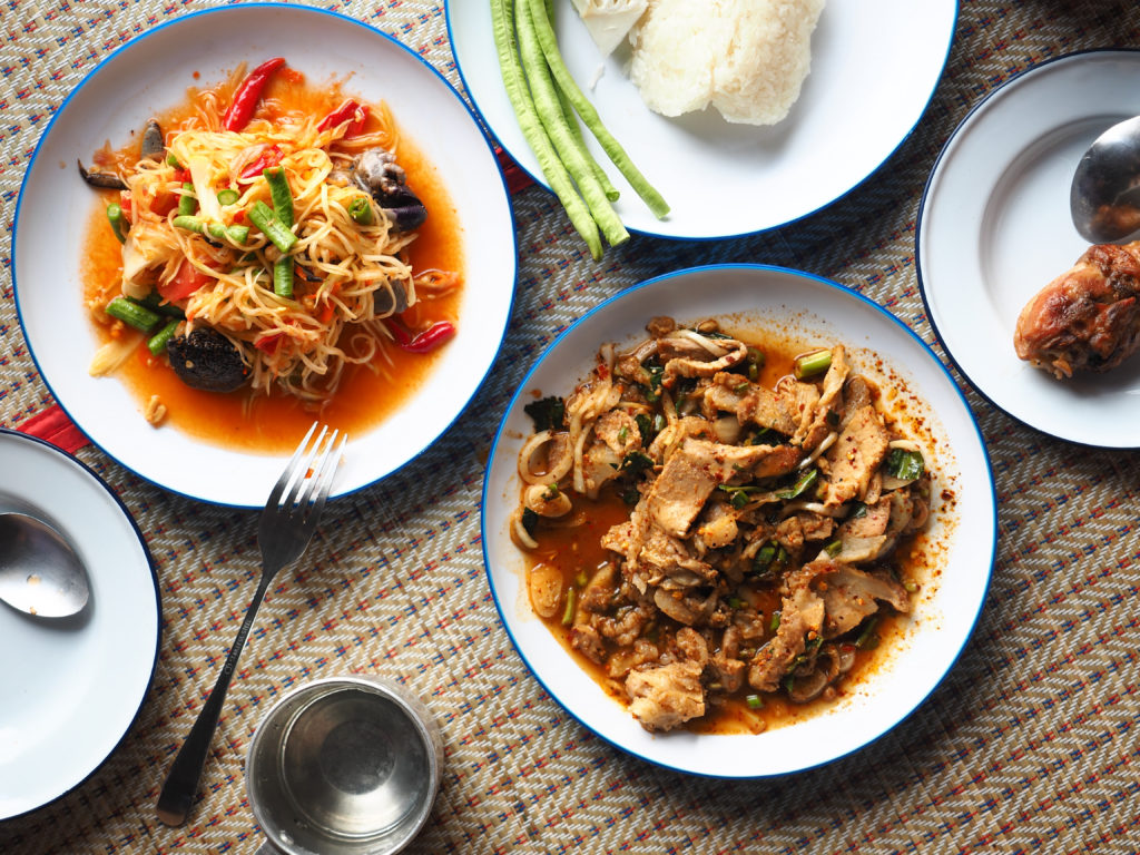 Thai food table: Eating north eastern foods - food and travel