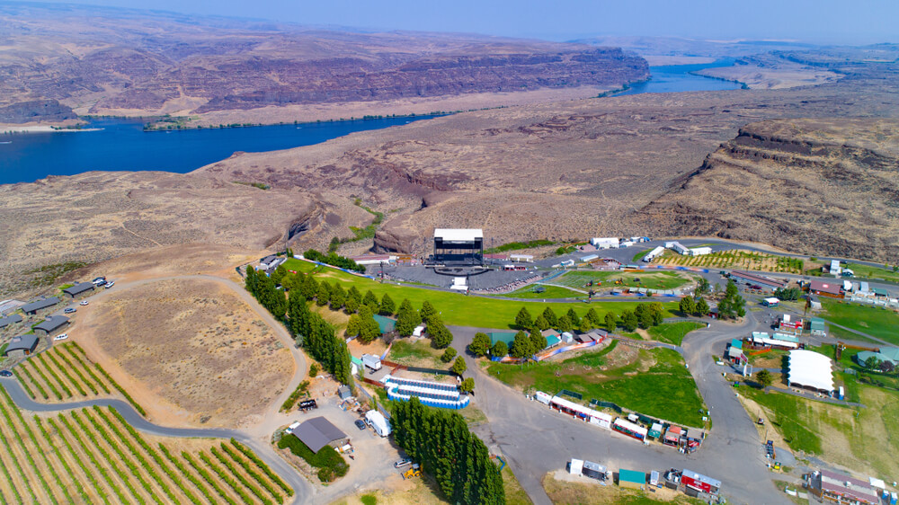 aerial shot The Gorge in Washington – one of the top concert venues in the world