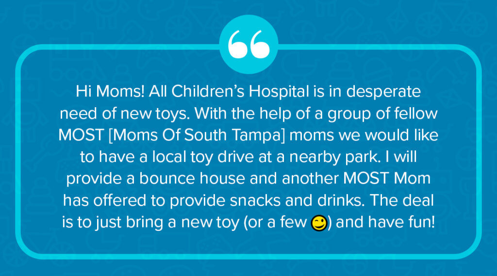 facebook post to promote local toy drive for All Children's Hospital in St. Petersburg, FL