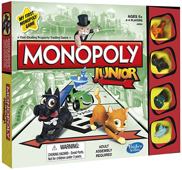 monopoly jr family board games box cover