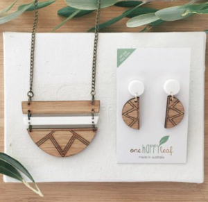 one happy leaf product - necklace and earrings