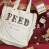 Tote bag with the word Feed