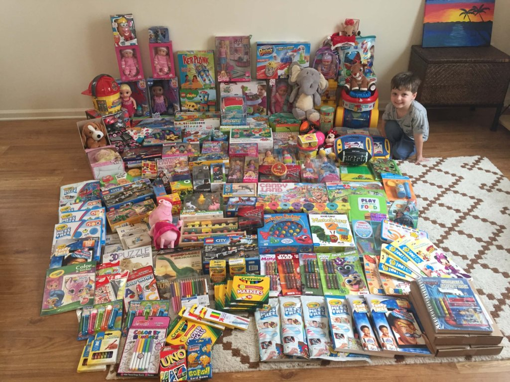 photo showing all of the local toy drive donations