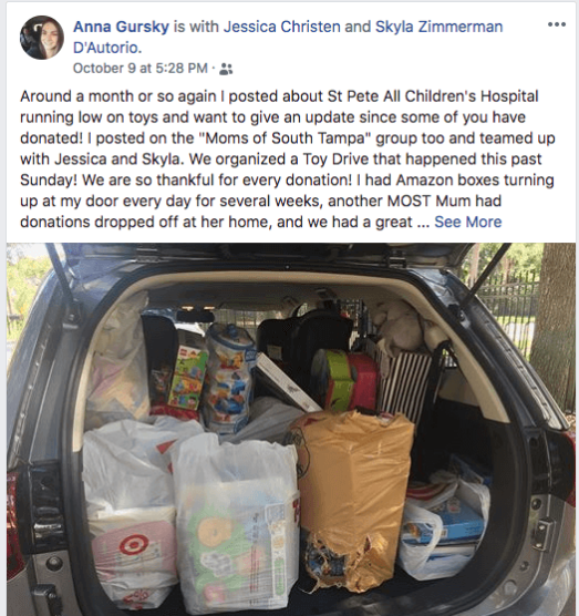 facebook post about successful toy drive organized locally