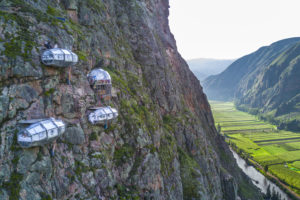 4 skylodge capsules cliffside in peru