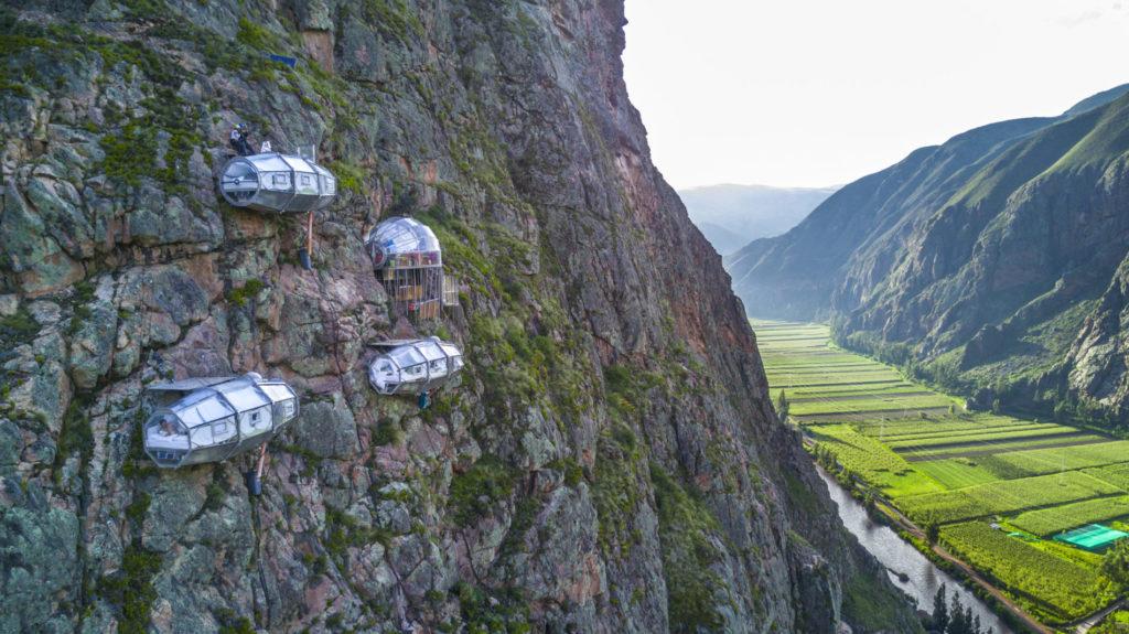 4 skylodge capsules cliffside in peru
