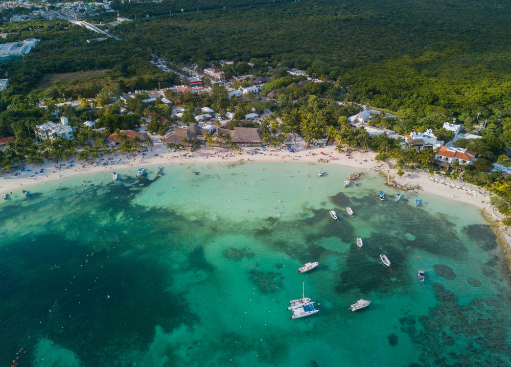 aerial view of akumai bay beach in riviera maya - best beaches beyond cancun