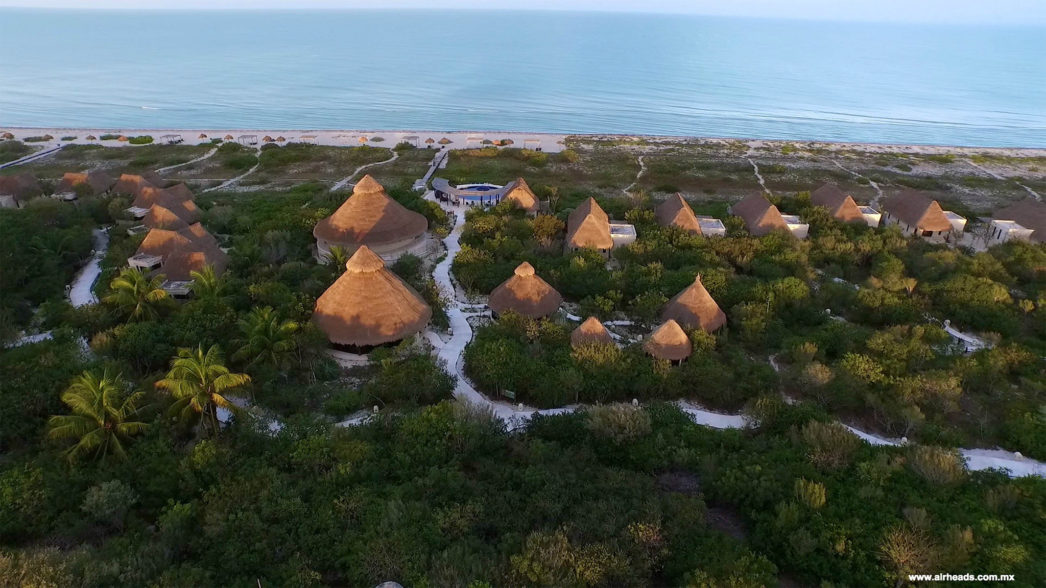 aerial view of hotel xixim in Celestun mexico - best beaches beyond cancun