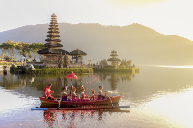 People on a boat in bali indonesia
