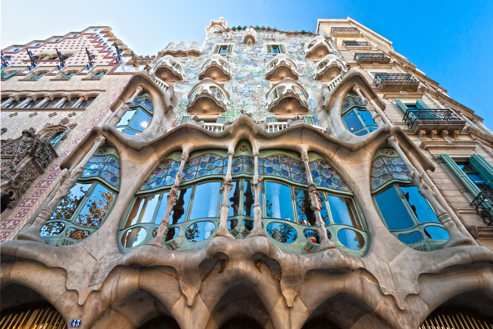 The Facade of the house Casa Batlló designed by Antoni Guadi - travel bucket list destination