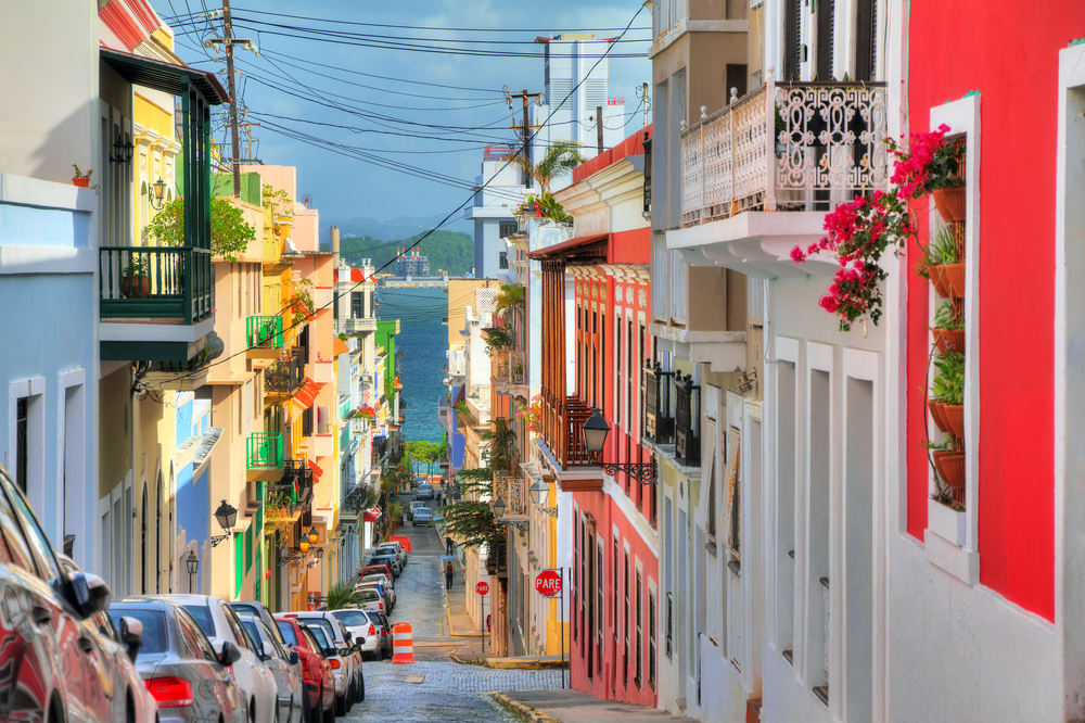 Traditional vibrant street in San Juan, Puerto Rico - travel bucket list destination