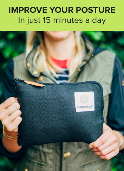 better back posture corrector shown in a compact carrying kit