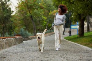 girl walking her dog through a park enjoying light exercise