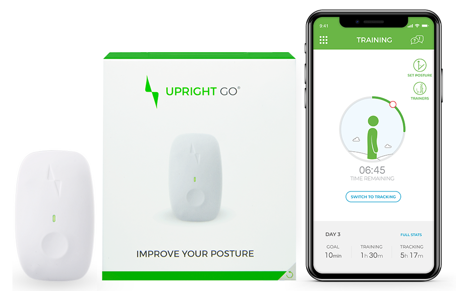 upright go posture corrector product shown on an app and it's packaging
