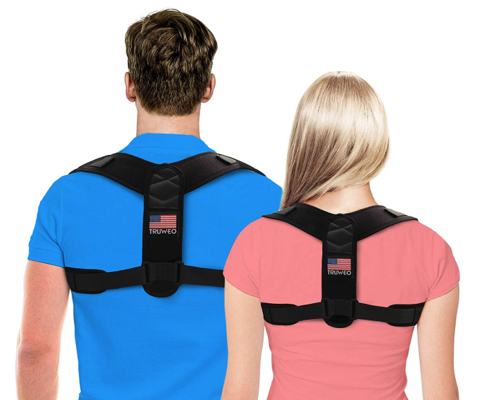truweo posture corrector shown on a man and a woman