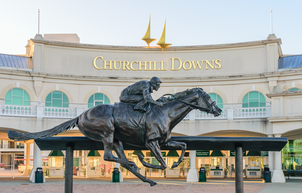 view of a statue outside churchill downs - a can't miss sports event