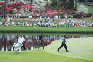 Golfers playing in the masters