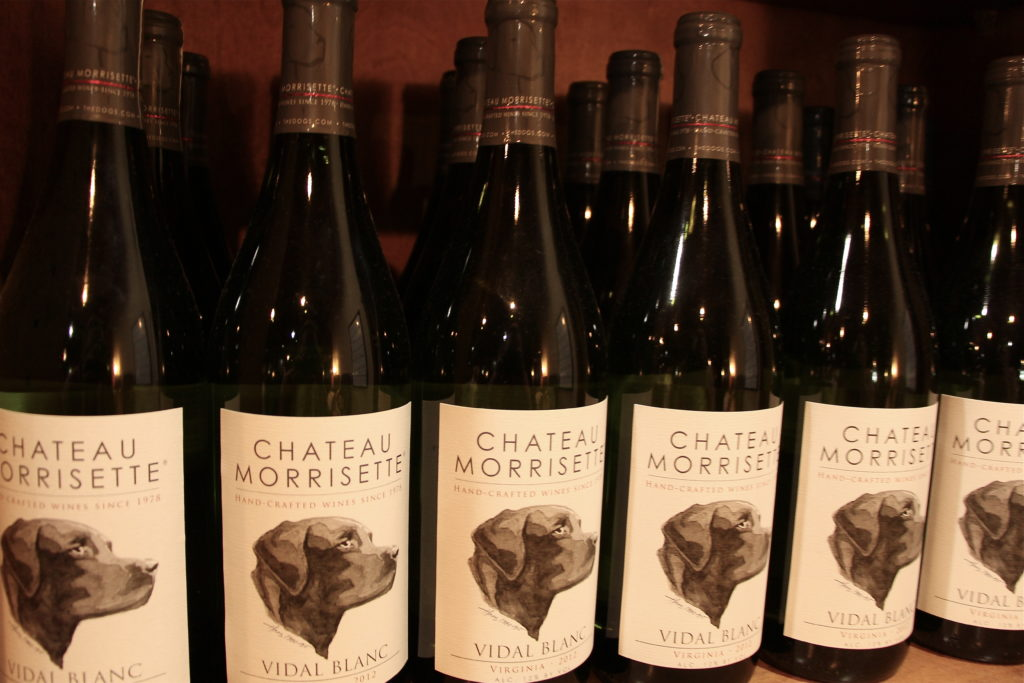 Chateau Morrisette wine bottles in the blue ridge mountains