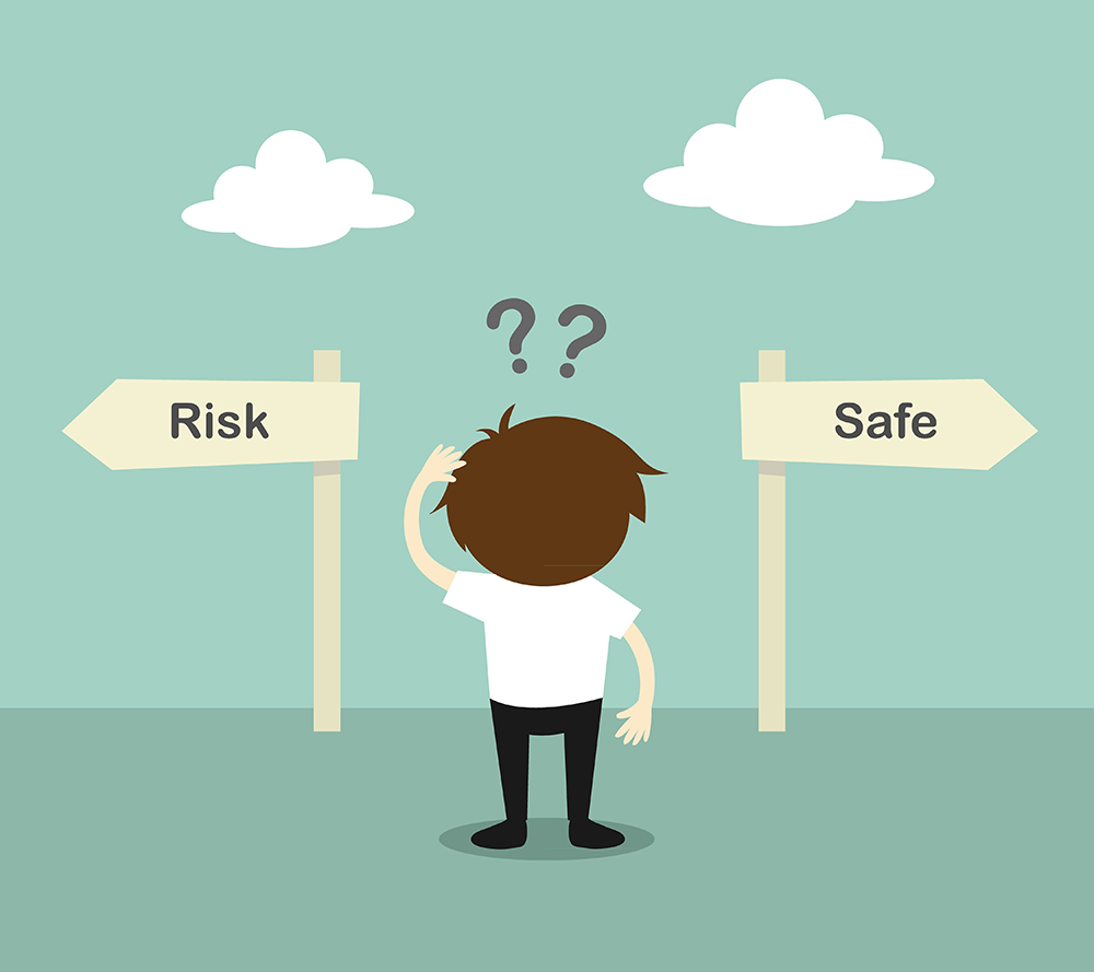 cartoon character looking at risk sign and safe sign, wondering where to go