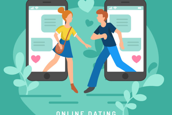 Cartoon image of two phone and people showing online dating