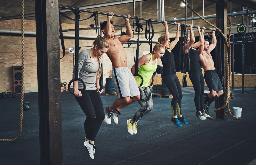 people working out with a group