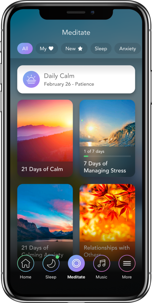 sccreenshot of Calm mindfulness app offerings