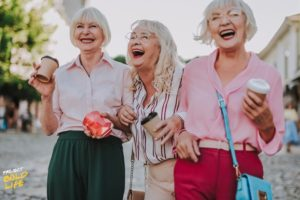 group of older ladies celebrating their long lasting friendship