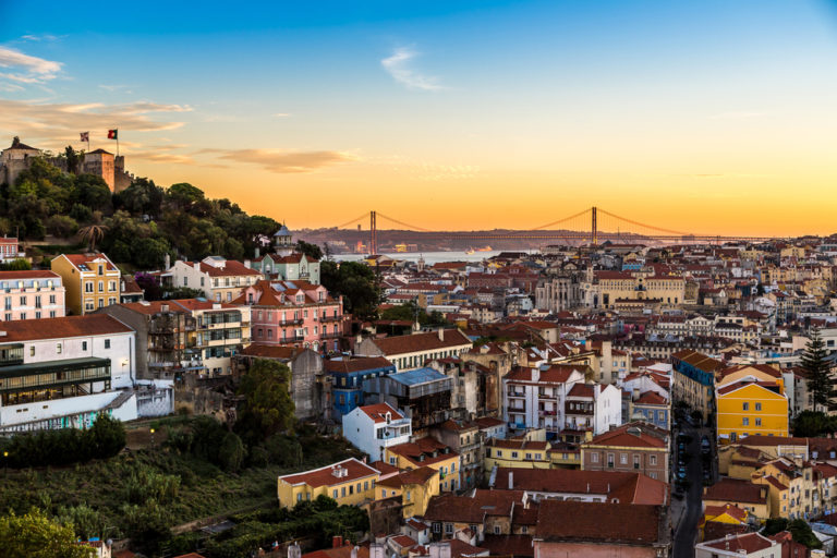 aerial view of lisbon – the city of light – at sunset