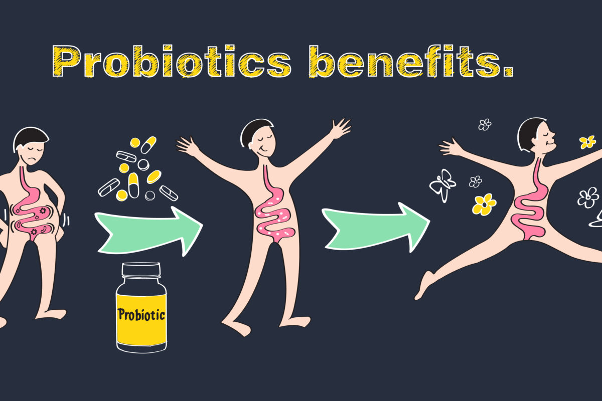 graphic cartoon featuring health benefits of probiotics