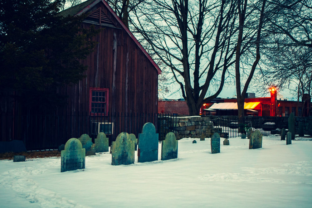 The Burying Point Cemetery dates back to 1637 is a destination for celebrating Halloween.
