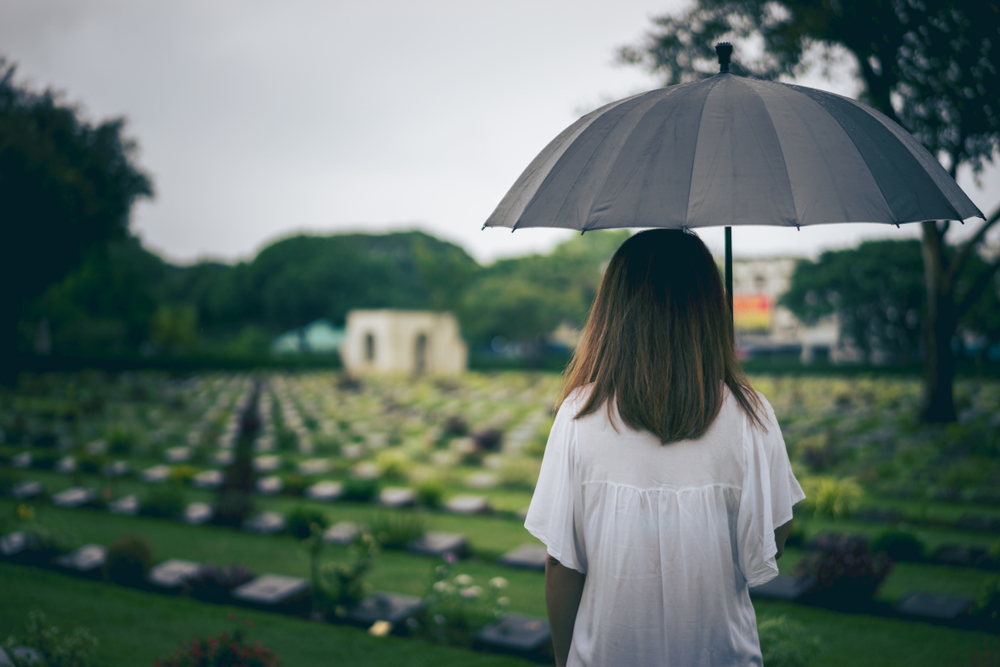 Girl in white holding an umbrella in a cemetery.