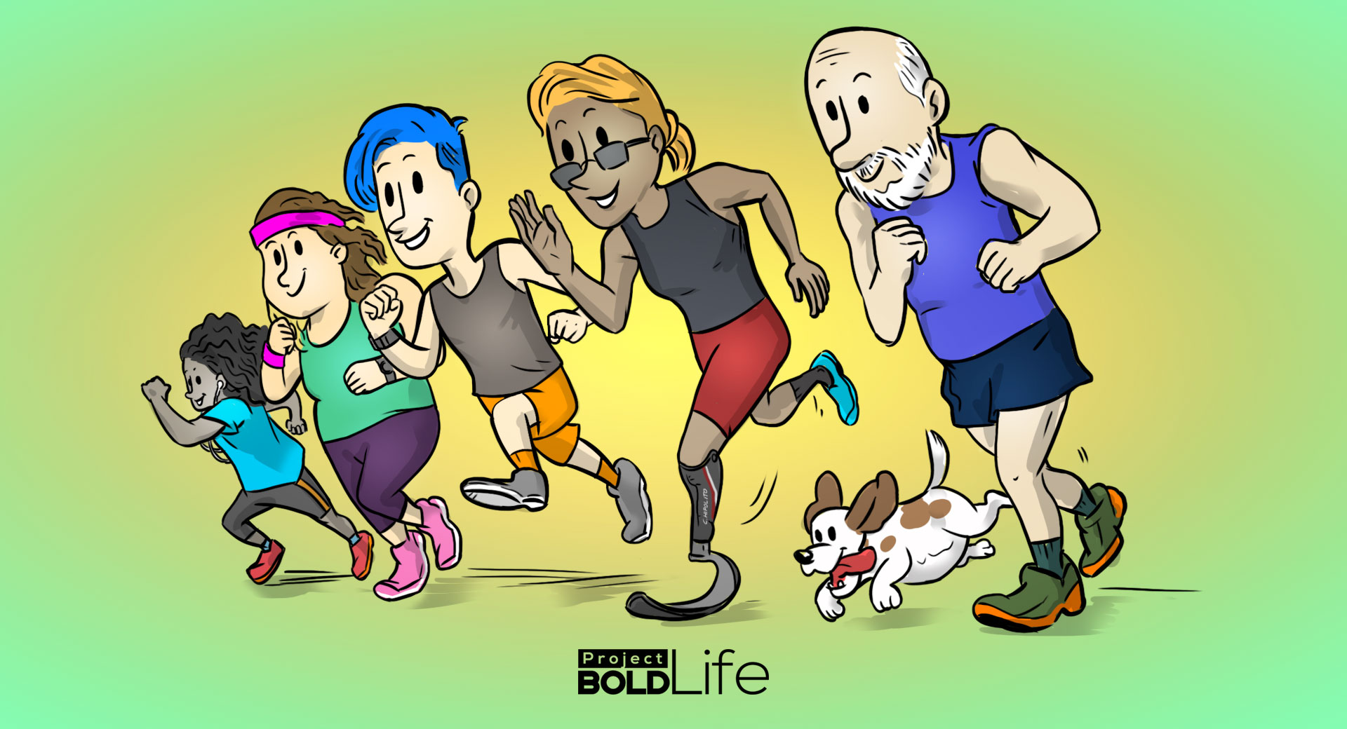 cartoon of five people of different ages running as a group and enjoying running benefits