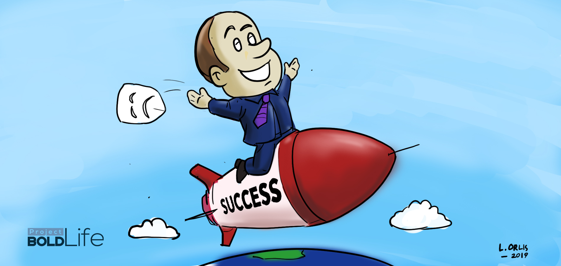 cartoon of a man overcoming depression with the use of goal-setting strategies while he's riding a SUCCESS spaceship