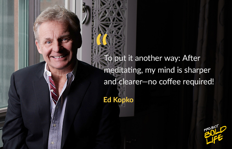 Ed talking about the benefits of meditation