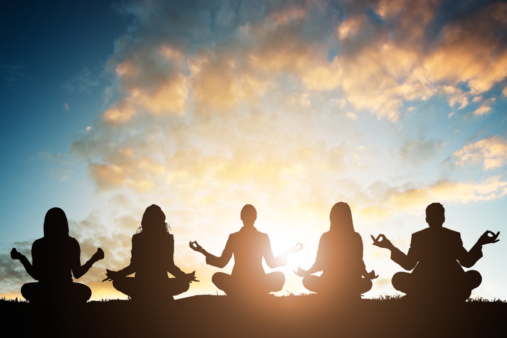 A group of people meditating