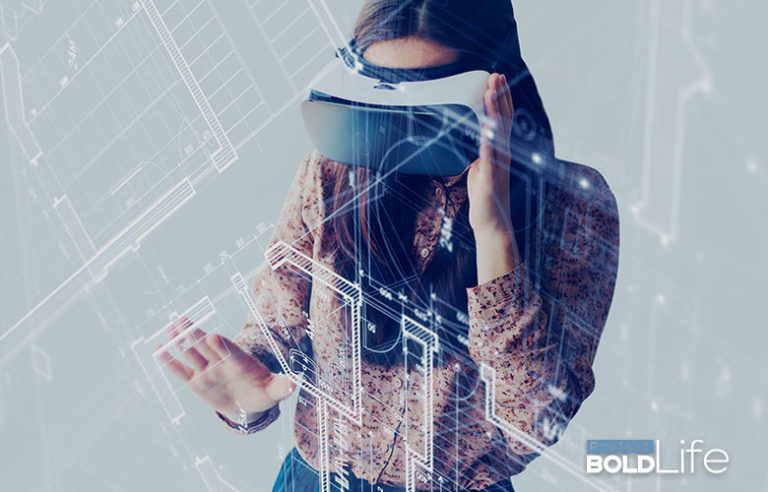 Girl wearing some virtual reality goggles and having a bold experience