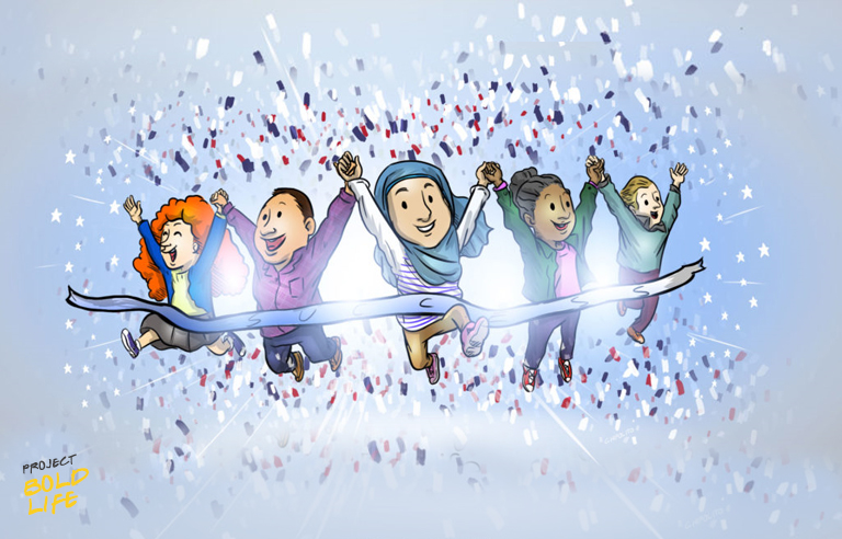 A cartoon of a bunch of immigrants crossing a finish line