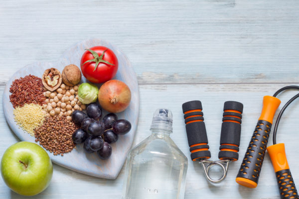 Some fruit, some water and some fitness equipment