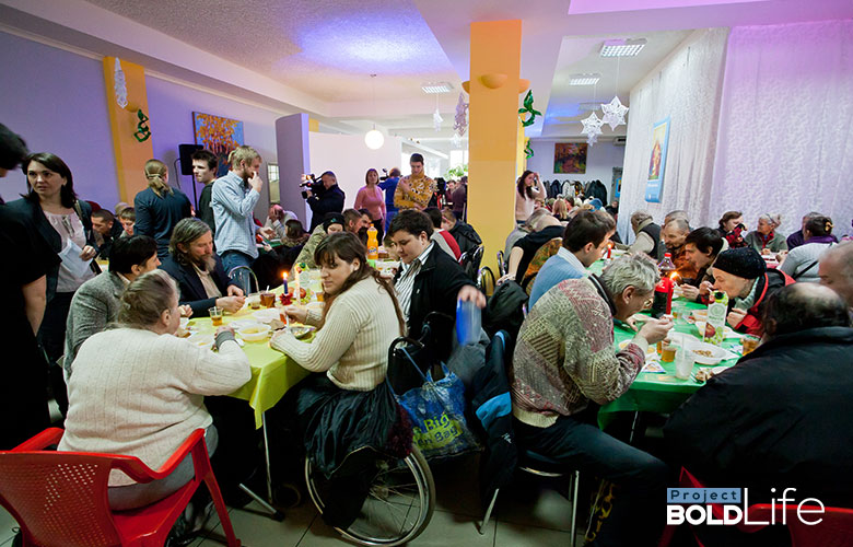 Some sort of crowded cafeteria for disadvantaged people