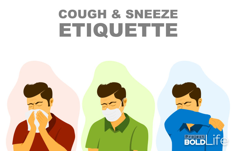 A trio of cartoons show the right way to sneeze and cough