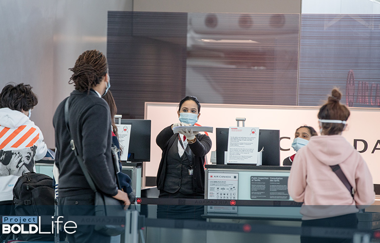 A TSA check-in area ready for COVID passengers
