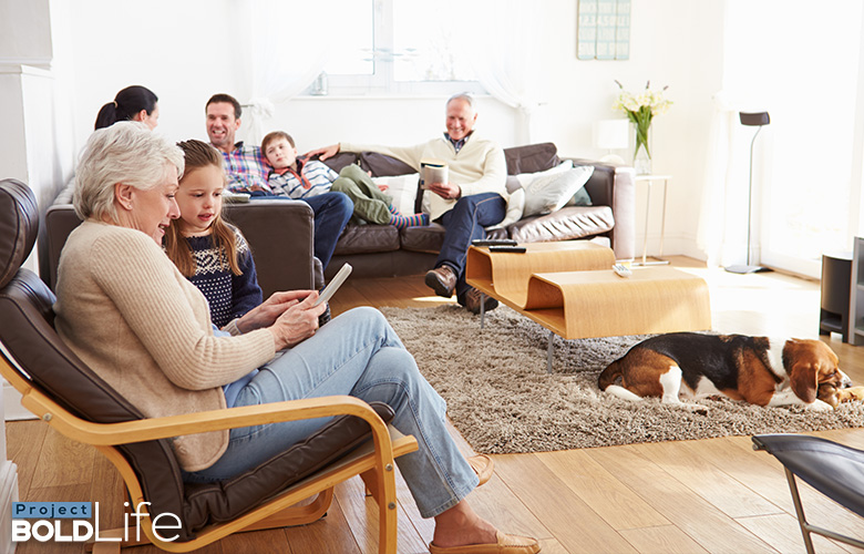 A family all crammed into a living room for some reason