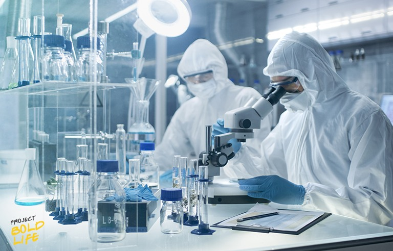 Scientists in a lab developing vaccines