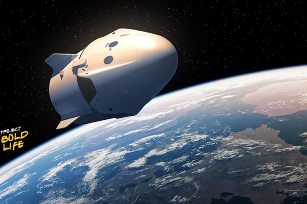 Space-X orbiting the Earth